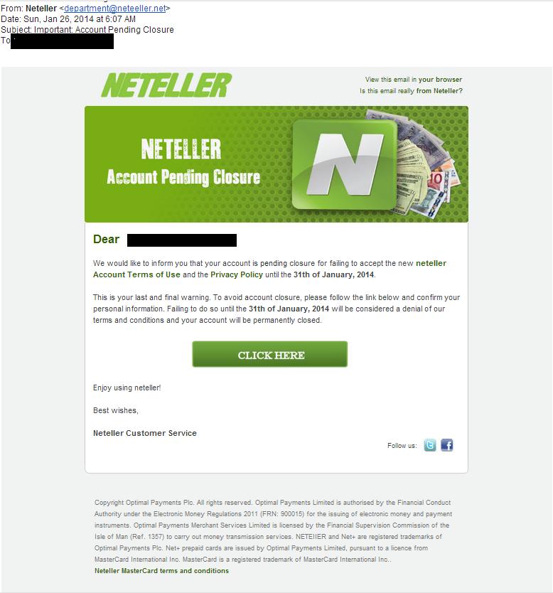 Neteller - Podvodný e-mail hackerů