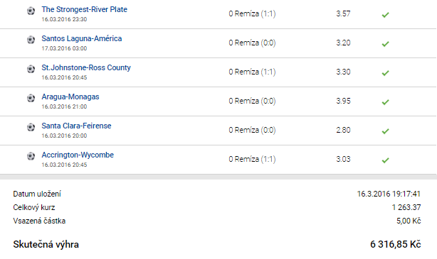 TOP 5 tikety minulého týdne: z 10 korun má 92 tisíc!