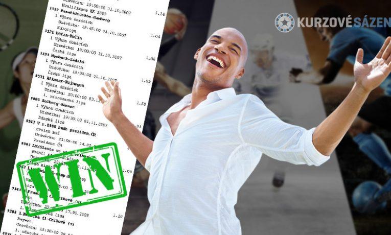 TOP tikety: Vsadil 9 stovek na maxikombi a vyhrál 3 mega