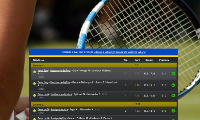 Tenisový TOP tiket: Borec vyhrál 400.000,- Kč! Kolik riskoval?