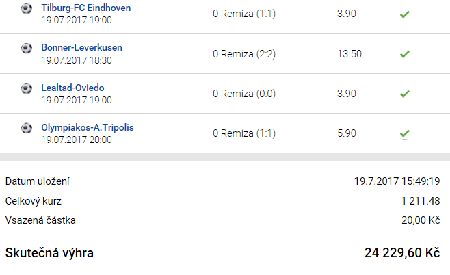 Tiket týdne: Sázkař vsadil za dvacku a vyhrál 24.229,- Kč!