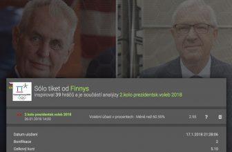 Tiket na 2. kolo prezidentských voleb  s vysokou důvěrou – platnost do 26.1.