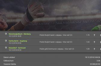 Fotbalovým tiketem se inspirovalo více jak 100 sázejících – platnost tiketu 18.12.