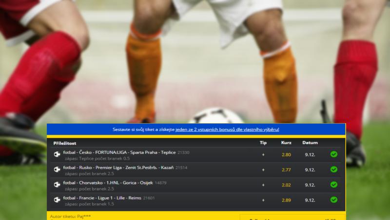 Analýza tiketu: Sázky na počty gólů přinesly klientovi Fortuny 4,5 tisíce