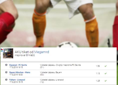 Rozbor tiketu, který díky Bayernu, Liverpoolu a Seville přinesl sázkaři 109.205,- Kč