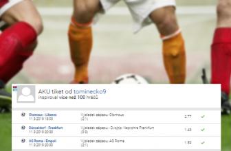 Triumfy Olomouce, AS Řím a Frankfurtu přinesly výhru 163 tisíc. Analýza tiketu vysvětlí, proč