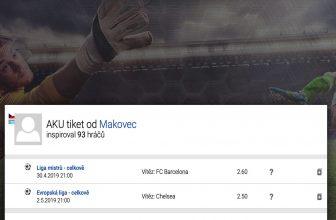 Fotbalový tiket na vítěze LM a EL – platnost tiketu 7.5.