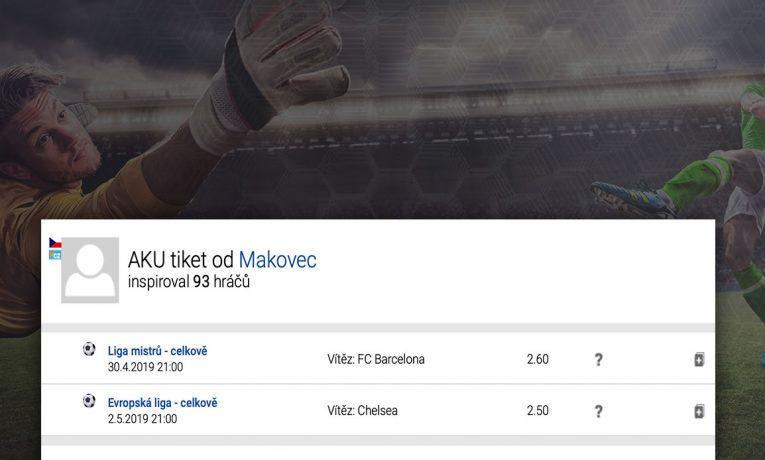Fotbalový tiket na vítěze LM a EL - platnost tiketu 7.5.