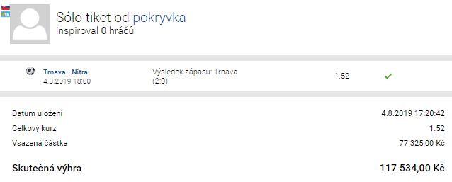 Rozbor tiketu: Sázkař vsadil na výhru Trnavy 77 tisíc. Proč? A kolik vyhrál?